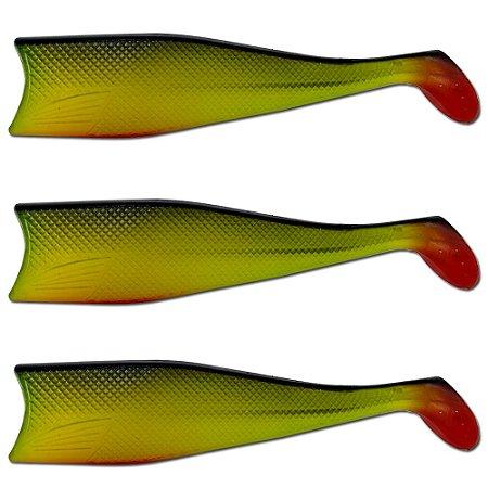 KIT 3UN Isca Artificial Shad Para Garoupa 21cm Verde