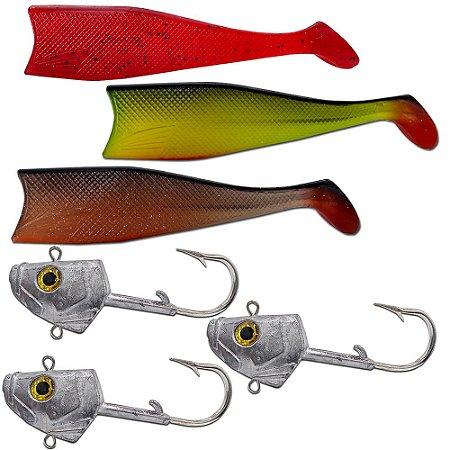 Kit 03un Cabeça + 03un Shad 21cm (Vermelho+ Verde + Marrom )