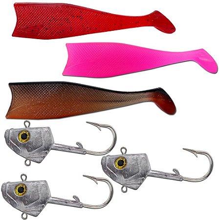 Kit 03un Cabeça + 03un Shad 21cm (Vermelho+ Rosa + Marrom )