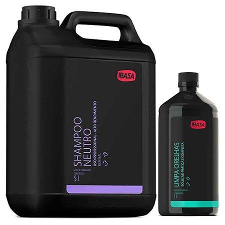 Combo Ibasa Shampoo Neutro 5l + Limpa Orelhas 1l