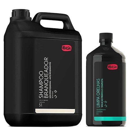 Combo Ibasa Shampoo Branqueador 5l + Limpa Orelhas 1l