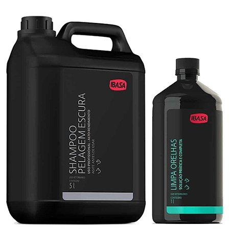 Combo Ibasa Shampoo Pelos Escuros 5l + Limpa Orelhas 1l