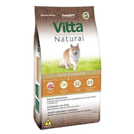Ração Premium Especial Vitta Natural Gatos Castrados Sabor Frango e Cereais Integrais 10,1kg - PremierPet