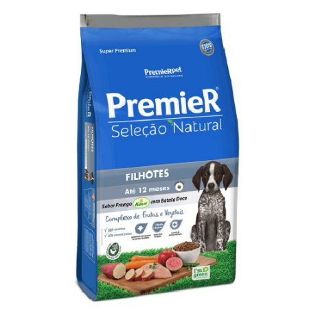 Ração Super Premium Premier Seleção Natural Cães Filhotes Até 12 Meses Sabor Frango Korin e Batata Doce 10,1kg - PremierPet