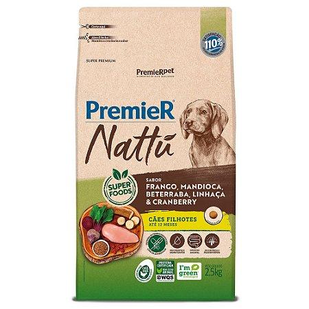 Ração Super Premium Premier Nattu Cães Filhotes Raças Médias e Grandes Sabor Frango e Mandioca 2,5kg