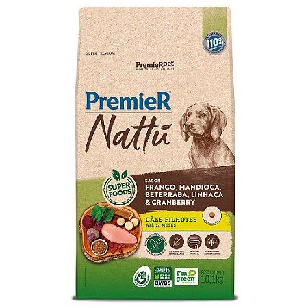 Ração Super Premium Premier Nattu Cães Filhotes Raças Médias e Grandes Sabor Frango e Mandioca 10,1kg