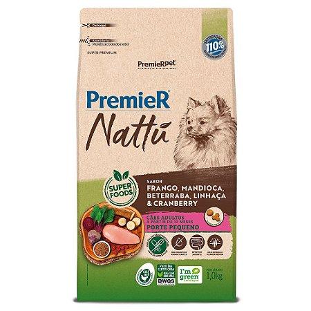 Ração Super Premium Premier Nattu Cães Adultos Raças Pequenas Sabor Frango e Mandioca 1kg