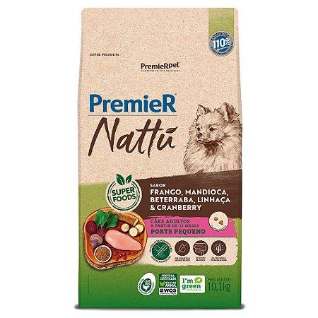 Ração Super Premium Premier Nattu Cães Adultos Raças Pequenas Sabor Frango Mandioca 10,1kg