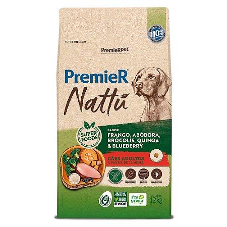 Ração Super Premium Premier Nattu Cães Adultos Raças Médias e Grandes Sabor Frango e Abobora 12kg