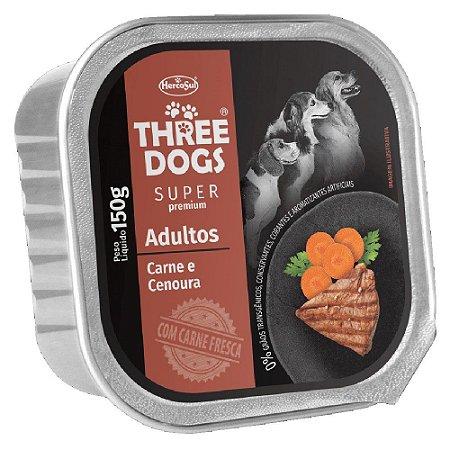 Ração Úmida Three Dogs Super Premium Patê Cães Adultos Sabor Carne e Cenoura 150g - Hercosul