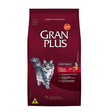 Ração Gran Plus Gato Adultos Castrados Carne e Arroz 3kg