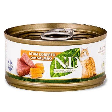 Ração Úmida N&D Lata Gatos Sabor Atum com Salmão 70g