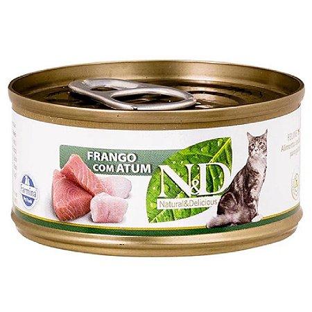 Ração Úmida N&D Lata Gatos Sabor Frango com Atum 70g
