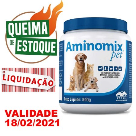 Suplemento Vitamínico Aminomix Pet Pó 500g -Vetnil VAL.02/21
