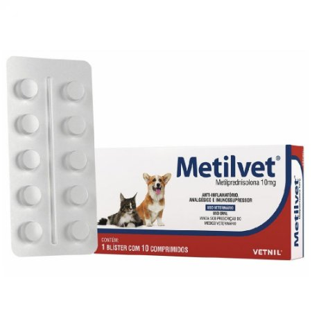 Anti-Inflamatório Metilvet 10mg Cães e Gatos 10 Comprimidos - Vetnil