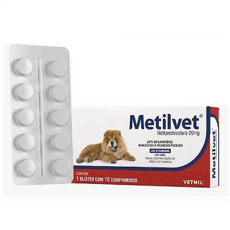 Anti-Inflamatório Metilvet 20mg Cães e Gatos 10 Comprimidos - Vetnil
