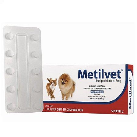 Anti-Inflamatório Metilvet 5mg Cães e Gatos 10 Comprimidos - Vetnil