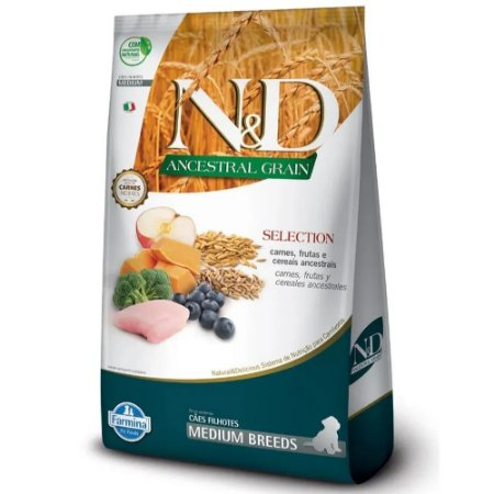Ração N&D Ancestral Grain Selection Cães Puppy Medium 15kg