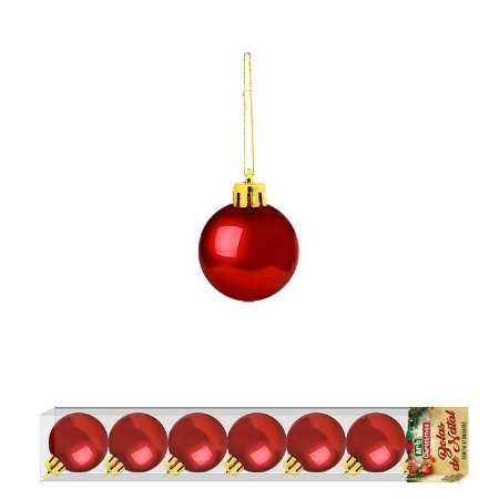 Enfeite Bola de Natal Lisa 3cm x 7 Peças Vermelha