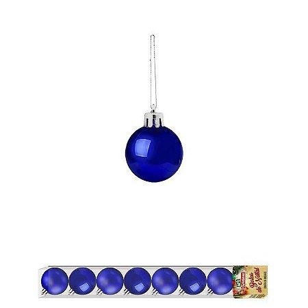 Enfeite Bola de Natal Lisa 2,5cm 8 Peças Azul
