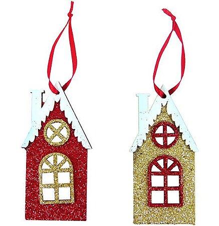 Enfeite Casa Chamine Natal com Glitter