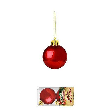 Enfeite Bola de Natal 6cm 2 Peças Vermelho