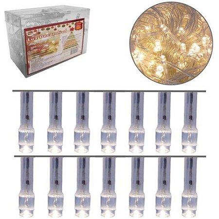 Cordão 100 LEDs Fixa Branco Quente 9m - 127V