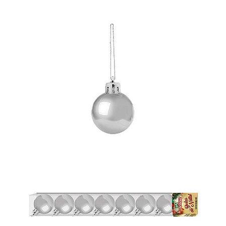 Enfeite Bola de Natal 2,5cm 8 peças Prata