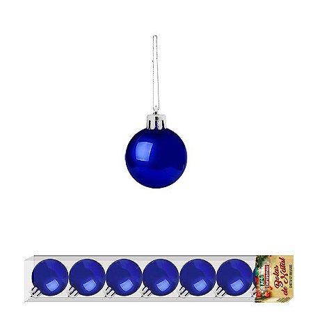 Enfeite Bola de Natal 3cm 7 Peças Azul