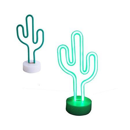 Luminária Cacto Neon Verde