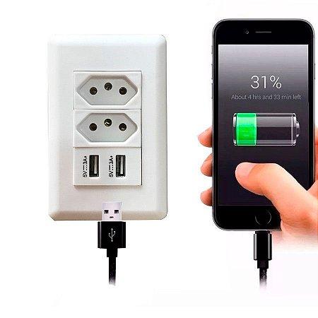 Tomada USB Duo 4x2 + USB