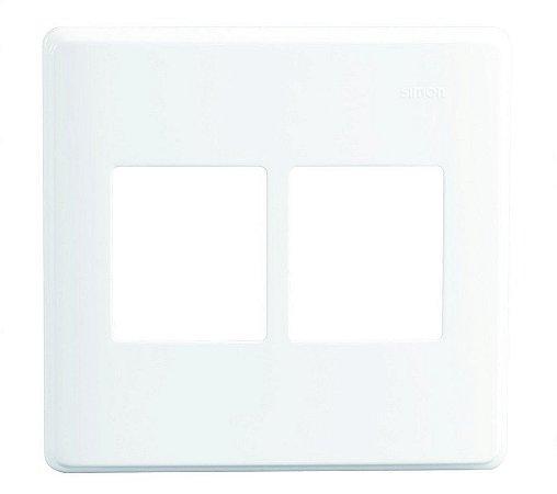 Placa 4x4 4 Postos com Suporte Branca - SIMON