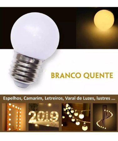 Lampada Bolinha LED 1W Bivolt Branco Quente