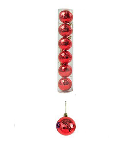 Bola de Natal Vermelha Decorada 3D Colors 6cm 6pcs