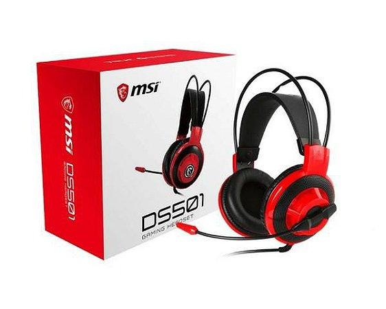 Fone com Microfone MSI DS501 Gaming - Preto e Vermelho