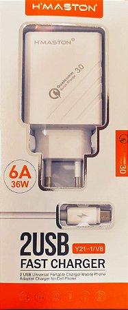 Carregador 2 Portas USB's + Cabo USB V8 - Turbo Chip Qualcomm 3.0 - H'Maston