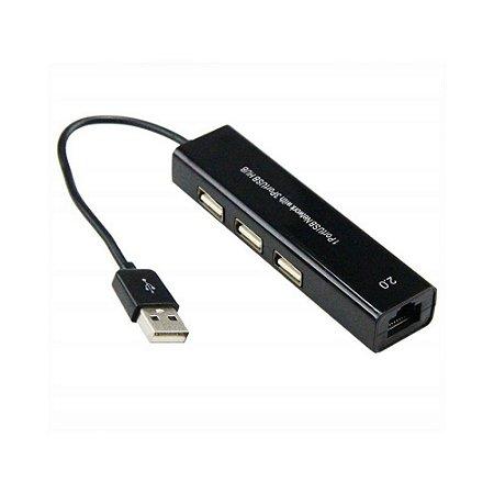 Cabo Adaptador HUB USB - 3 USB - 1 RJ45 - Windows e Mac