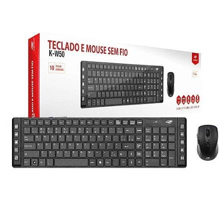 Kit Teclado e Mouse - Sem Fio - K-W50BK - C3Tech