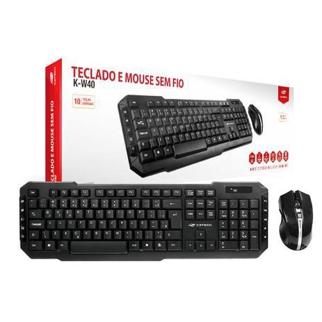 Kit Teclado e Mouse - Sem Fio - K-W40BK - C3Tech