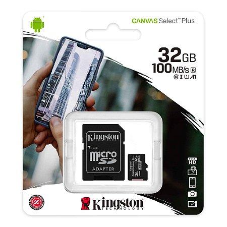 Cartão de Memória Kingston 32GB - Micro SD - Canvas Select Plus - Classe 10