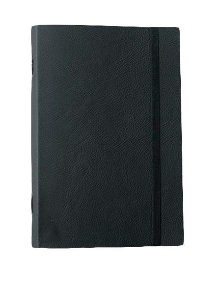 Caderno brochura de couro preto com elástico