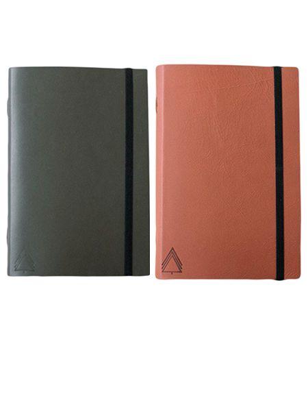 Kit com 2 cadernos brochura couro - Marrom e verde