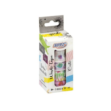 Kit 5 fitas adesivas decorativas washi tape - Cute - WT0505