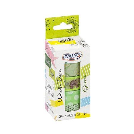 Kit 5 fitas adesivas decorativas washi tape - Green - WT0503