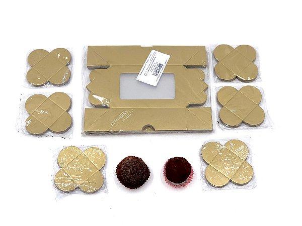 Kit de caixa com visor VR3 (12X8X4 cm) para 6 doces/brigadeiros/bombons com 120 forminhas - embalagem com 20