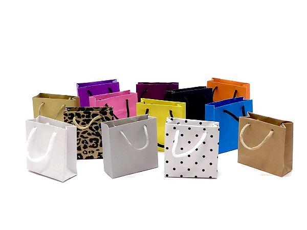 Sacola com alça de cordão PP (10x10x4 cm) - embalagem com 10