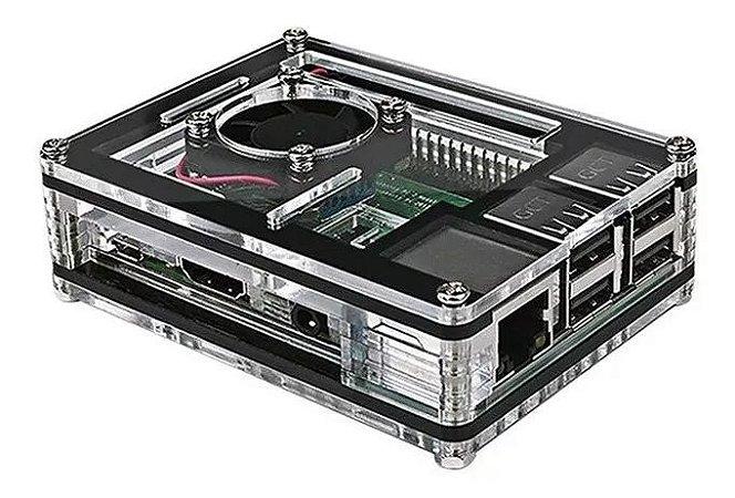 Kit Case Acrílico + Cooler + 3 Dissipadores Para Raspberry Pi