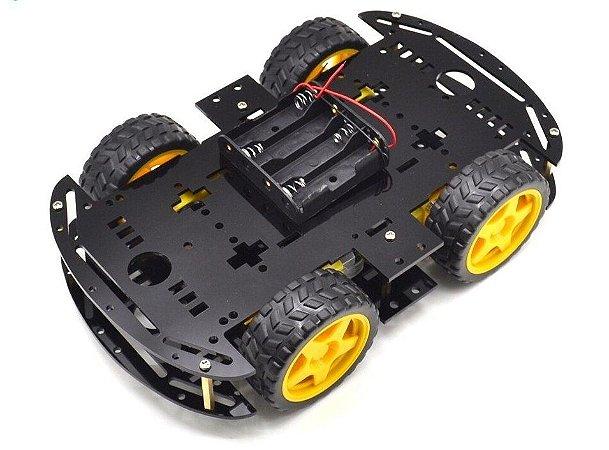 KIT CHASSI COM 4 RODAS 4WD PRETO PARA ARDUINO DIY