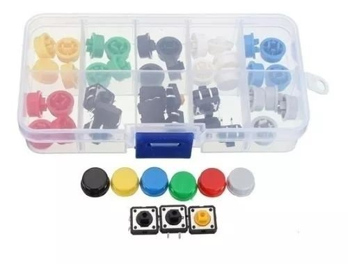Kit Push Button Com Capas Coloridas x50 Unidades
