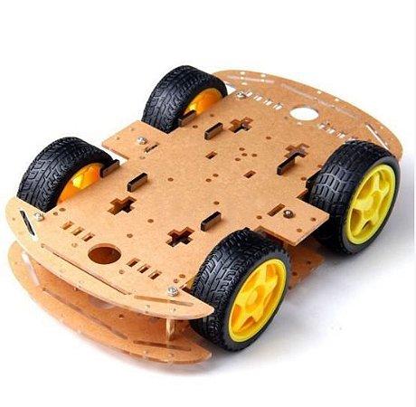 KIT CHASSI COM 4 RODAS 4WD PARA ARDUINO DIY